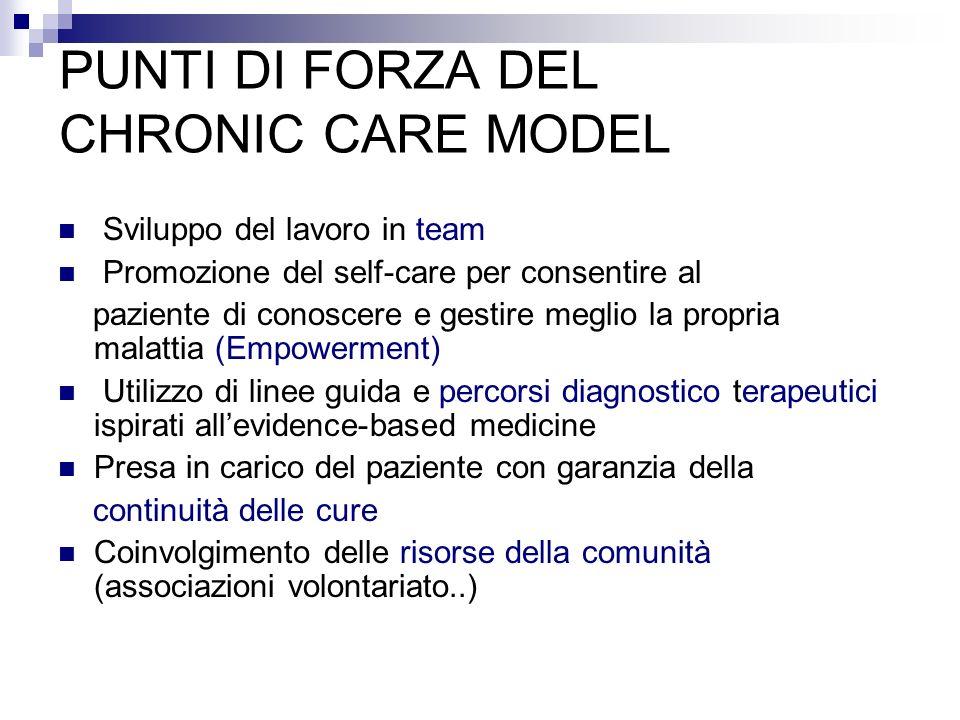PUNTI DI FORZA DEL CHRONIC CARE MODEL