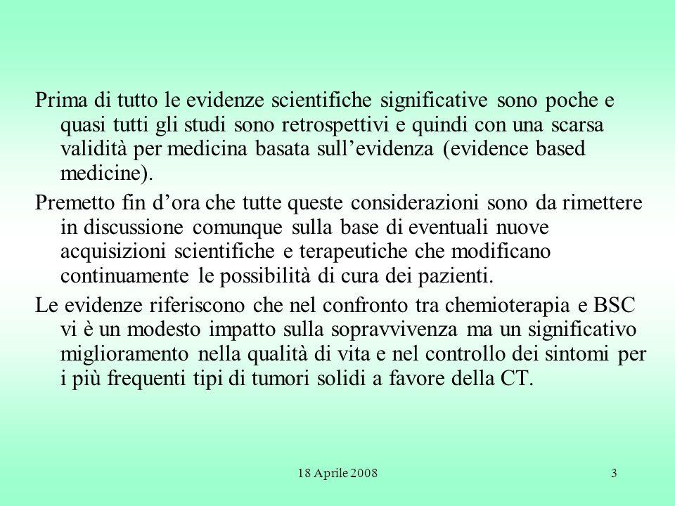 Prima di tutto le evidenze scientifiche significative sono poche e quasi tutti gli studi sono retrospettivi e quindi con una scarsa validità per medicina basata sull'evidenza (evidence based medicine).