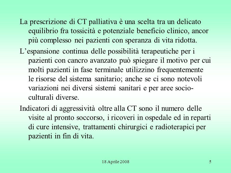 La prescrizione di CT palliativa è una scelta tra un delicato equilibrio fra tossicità e potenziale beneficio clinico, ancor più complesso nei pazienti con speranza di vita ridotta.