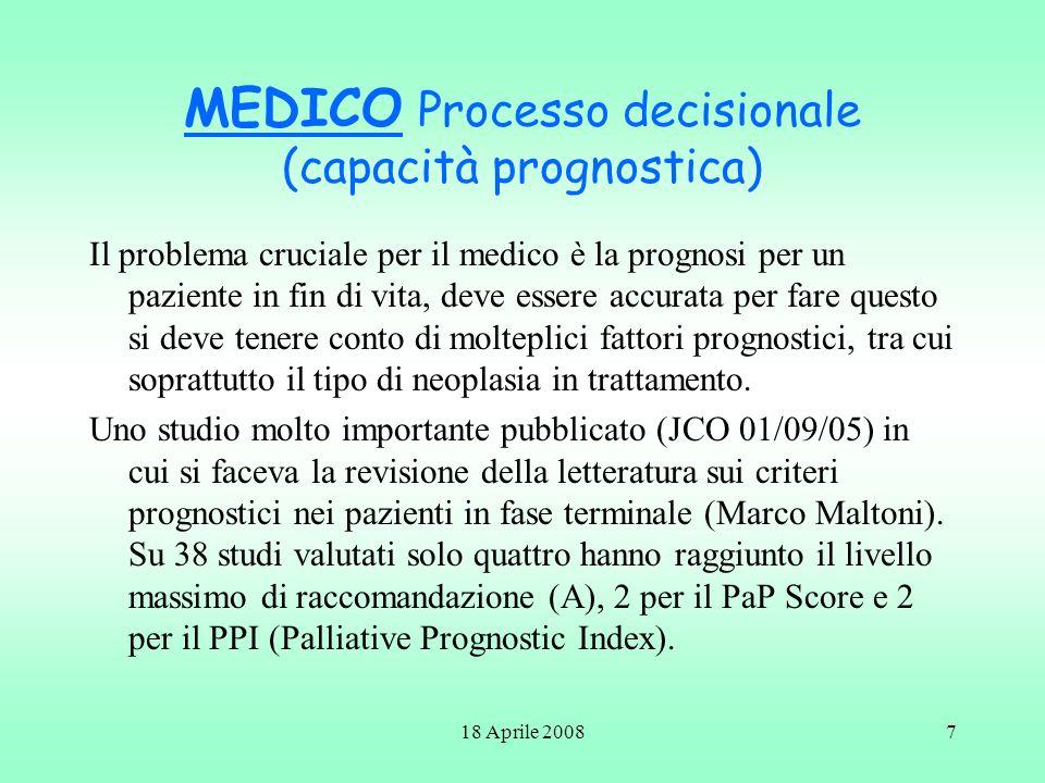 MEDICO Processo decisionale (capacità prognostica)