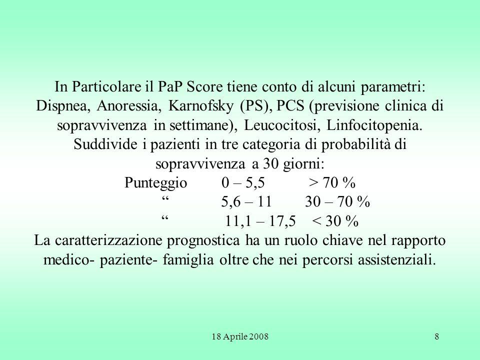 In Particolare il PaP Score tiene conto di alcuni parametri: Dispnea, Anoressia, Karnofsky (PS), PCS (previsione clinica di sopravvivenza in settimane), Leucocitosi, Linfocitopenia. Suddivide i pazienti in tre categoria di probabilità di sopravvivenza a 30 giorni: Punteggio 0 – 5,5 > 70 % 5,6 – 11 30 – 70 % 11,1 – 17,5 < 30 % La caratterizzazione prognostica ha un ruolo chiave nel rapporto medico- paziente- famiglia oltre che nei percorsi assistenziali.