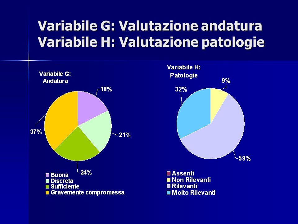 Variabile G: Valutazione andatura Variabile H: Valutazione patologie