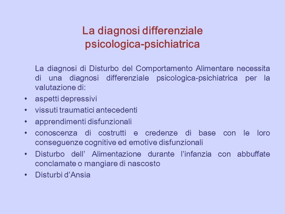 La diagnosi differenziale psicologica-psichiatrica