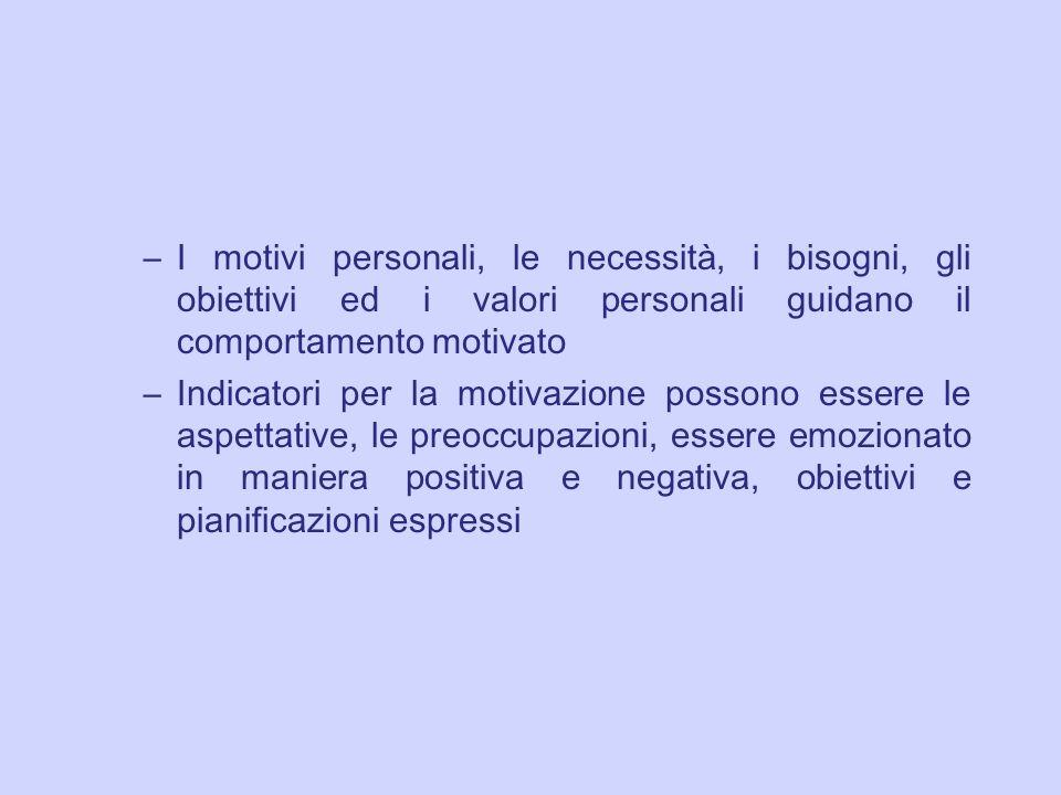 I motivi personali, le necessità, i bisogni, gli obiettivi ed i valori personali guidano il comportamento motivato