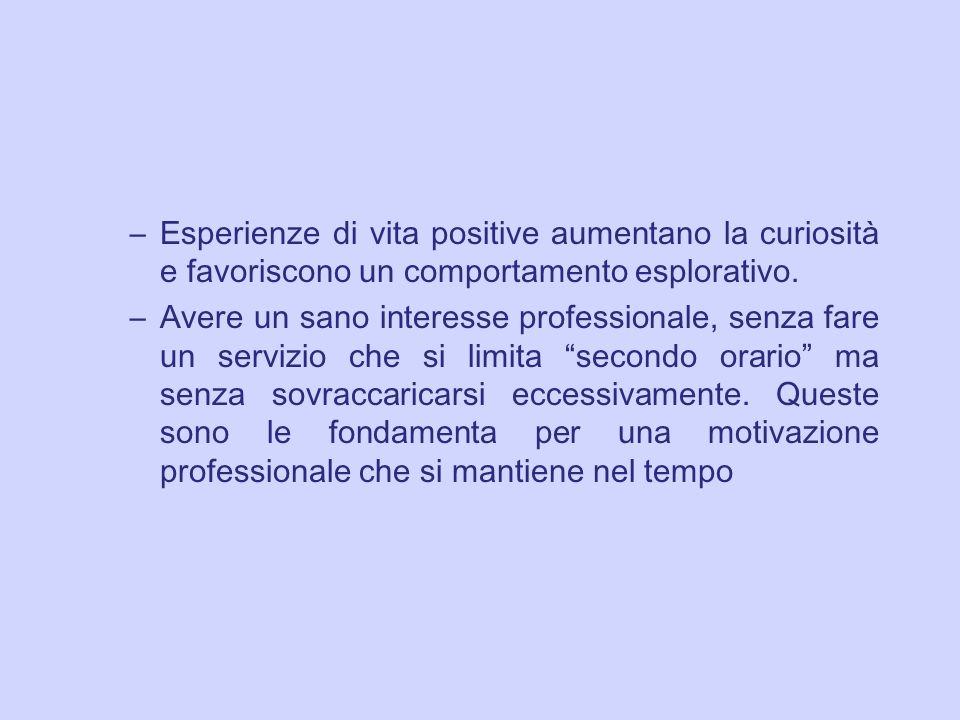 Esperienze di vita positive aumentano la curiosità e favoriscono un comportamento esplorativo.