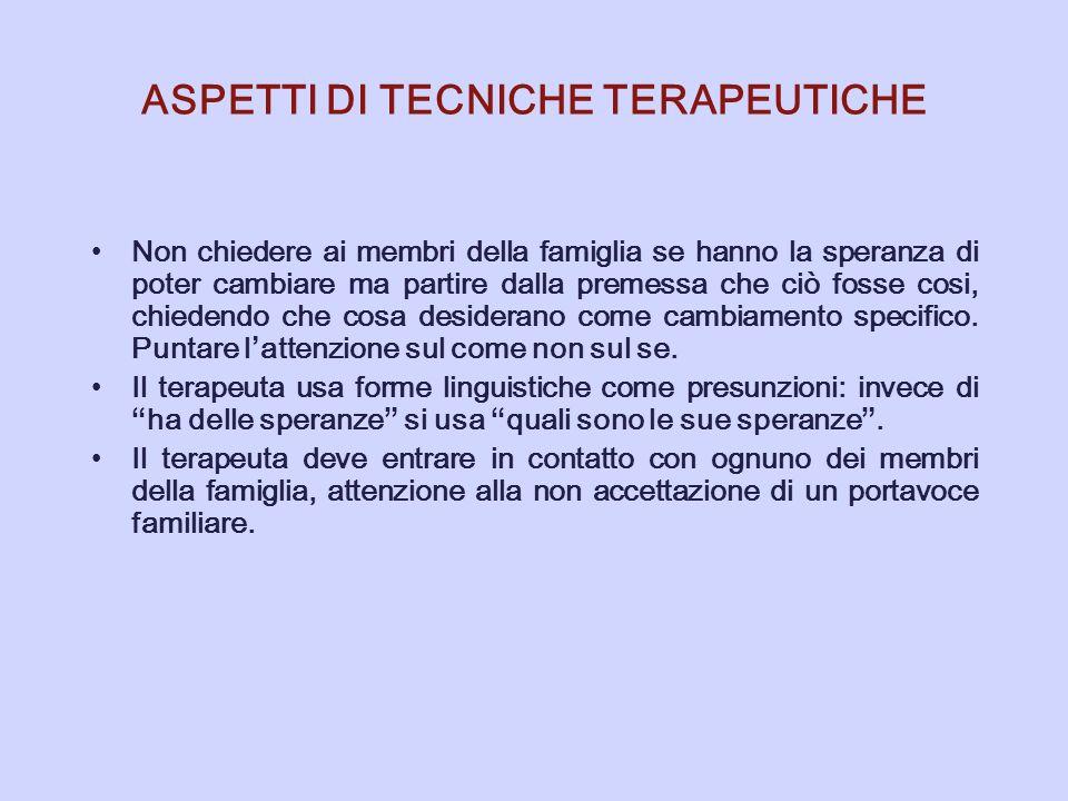 ASPETTI DI TECNICHE TERAPEUTICHE