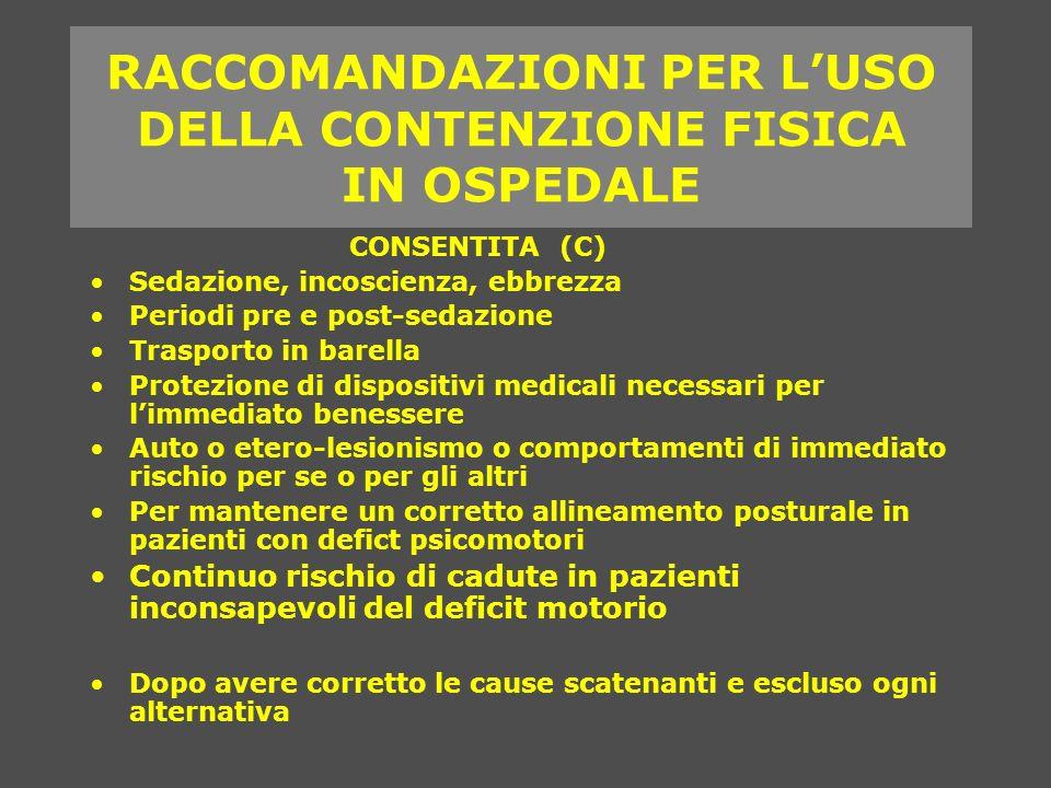 RACCOMANDAZIONI PER L'USO DELLA CONTENZIONE FISICA IN OSPEDALE