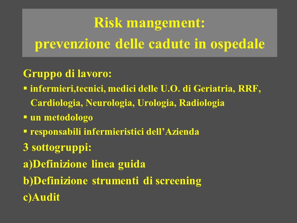 Risk mangement: prevenzione delle cadute in ospedale