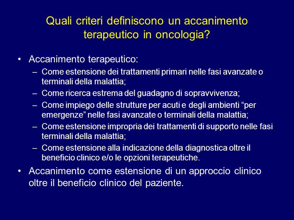 Quali criteri definiscono un accanimento terapeutico in oncologia