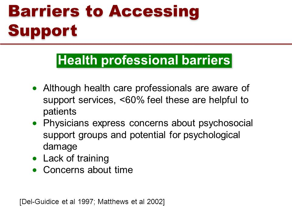 Barriers to Accessing Support