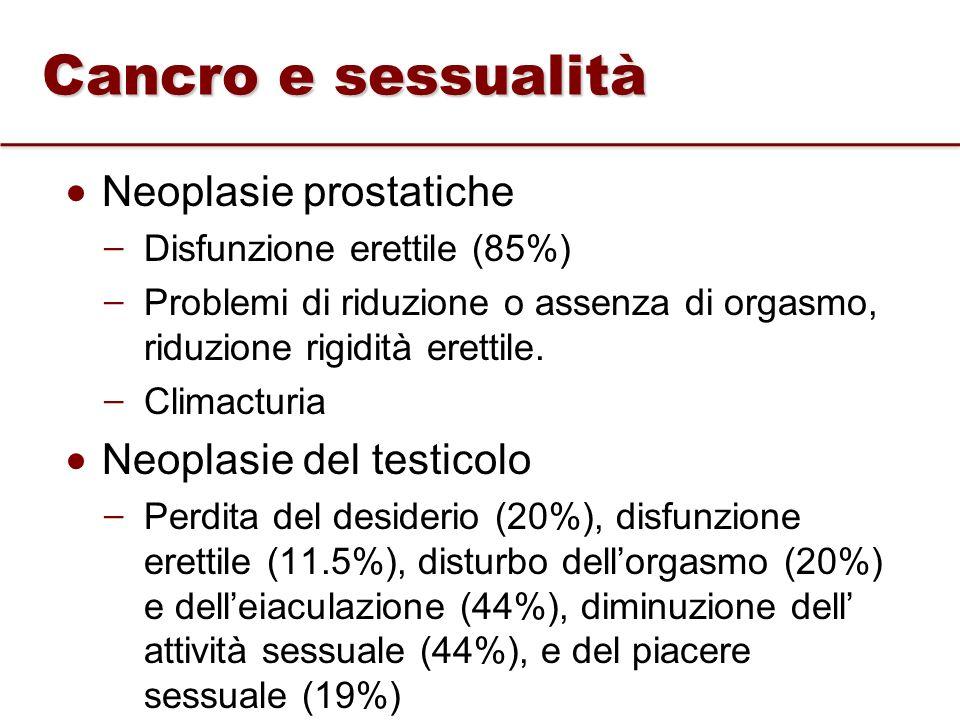Cancro e sessualità Neoplasie prostatiche Neoplasie del testicolo