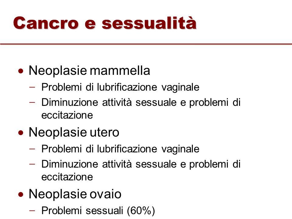 Cancro e sessualità Neoplasie mammella Neoplasie utero Neoplasie ovaio