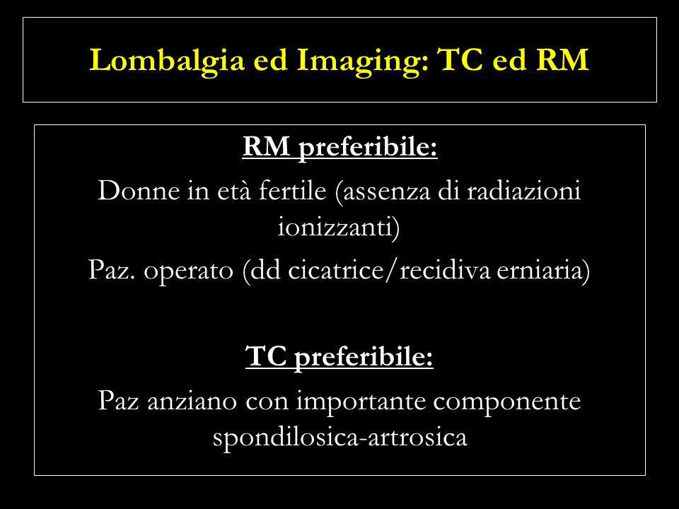 Lombalgia ed Imaging: TC ed RM