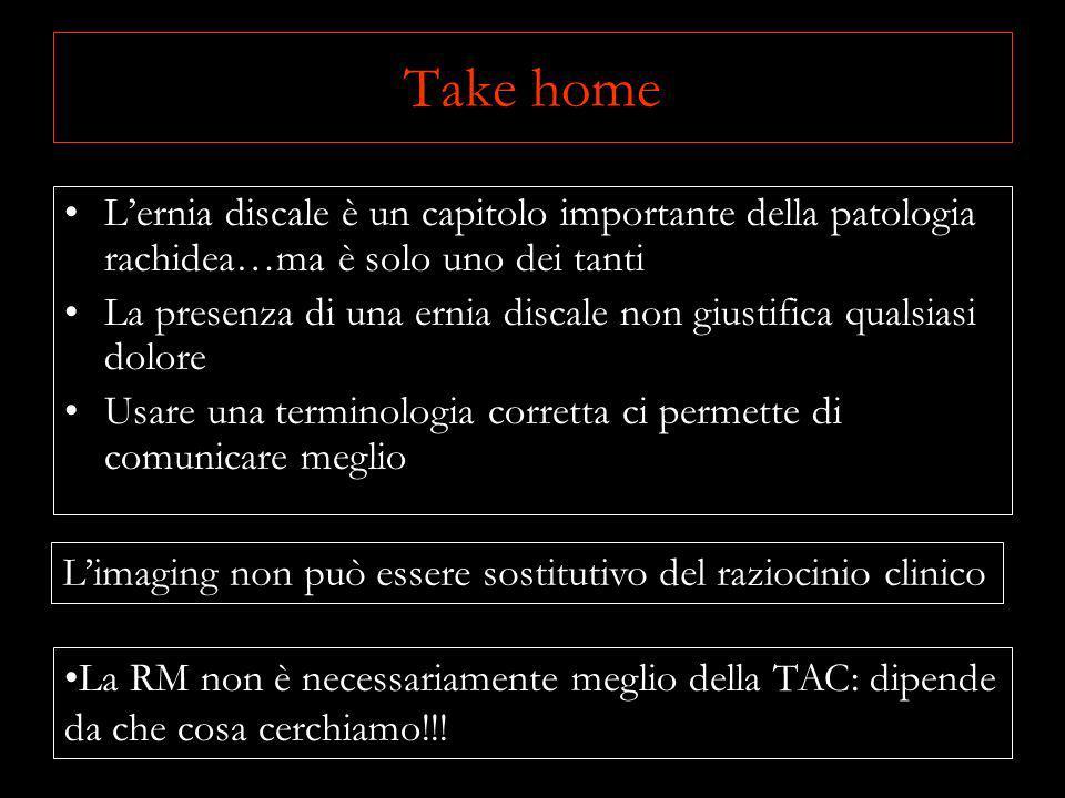 Take home L'ernia discale è un capitolo importante della patologia rachidea…ma è solo uno dei tanti.