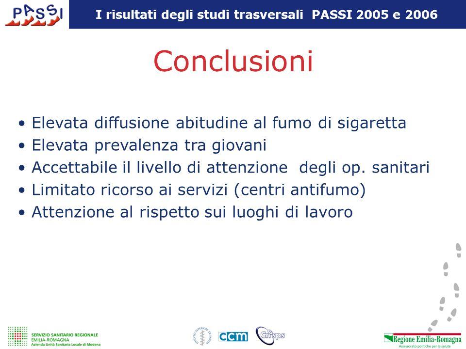 Conclusioni Elevata diffusione abitudine al fumo di sigaretta