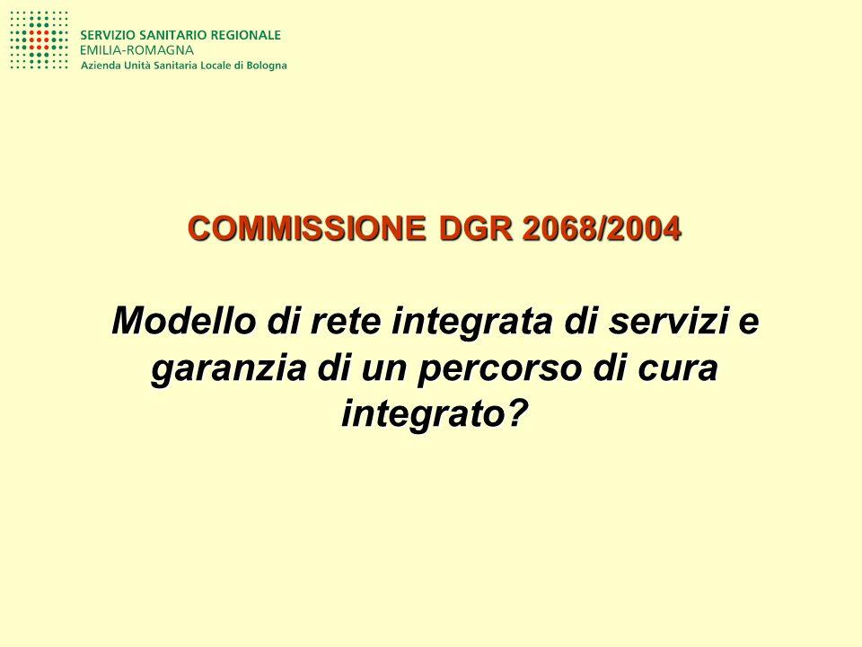 COMMISSIONE DGR 2068/2004 Modello di rete integrata di servizi e garanzia di un percorso di cura integrato