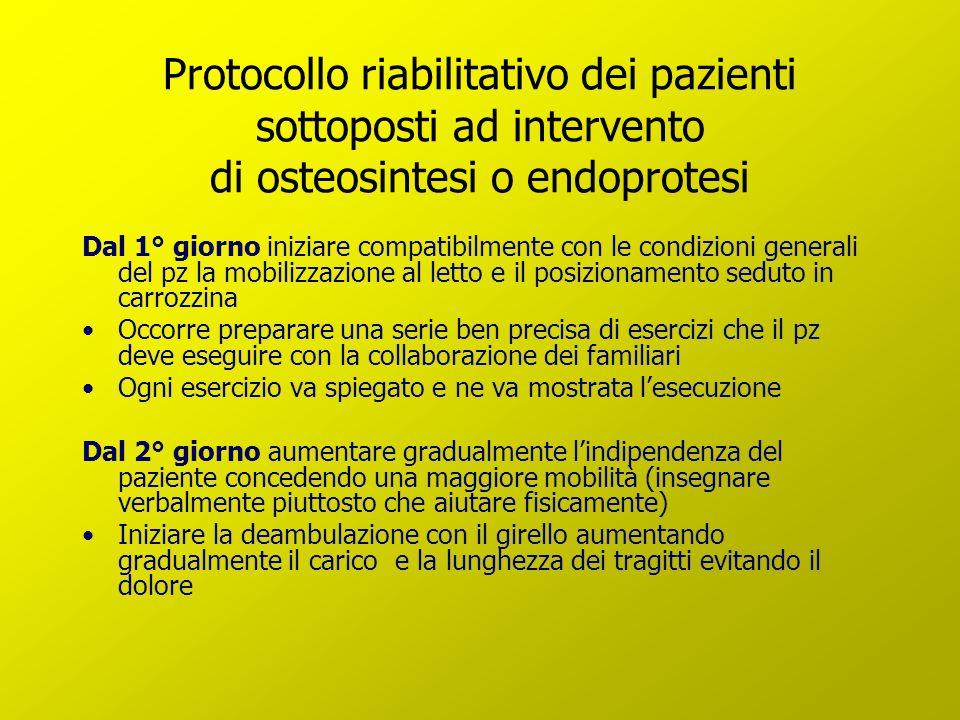 Protocollo riabilitativo dei pazienti sottoposti ad intervento di osteosintesi o endoprotesi