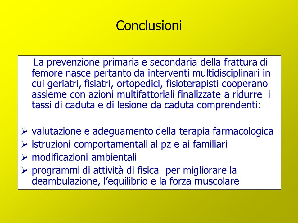 Conclusioni valutazione e adeguamento della terapia farmacologica