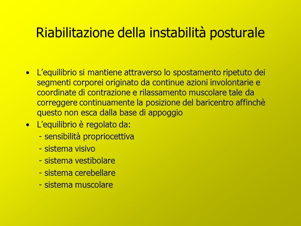 Riabilitazione della instabilità posturale