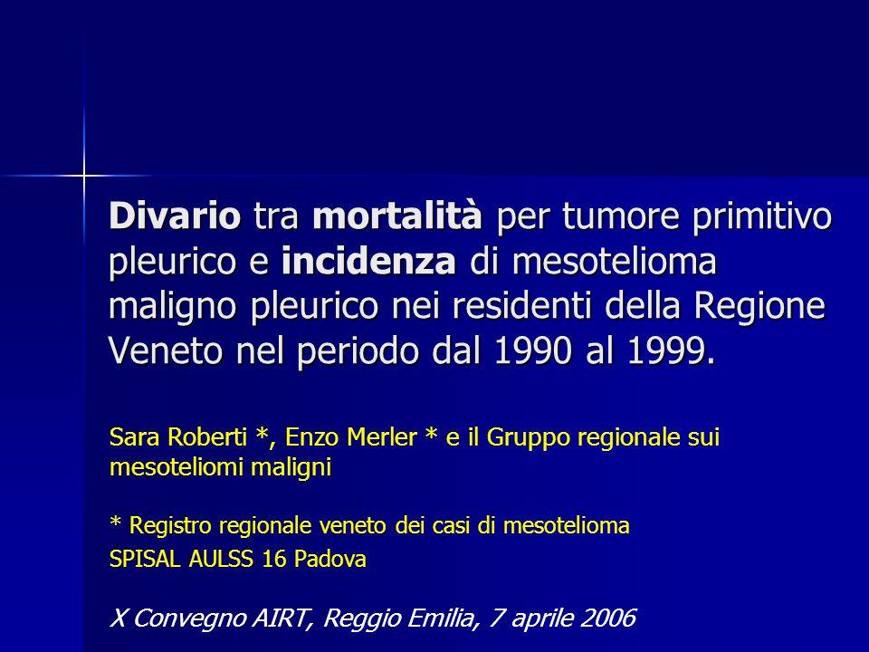 Divario tra mortalità per tumore primitivo pleurico e incidenza di mesotelioma maligno pleurico nei residenti della Regione Veneto nel periodo dal 1990 al 1999.