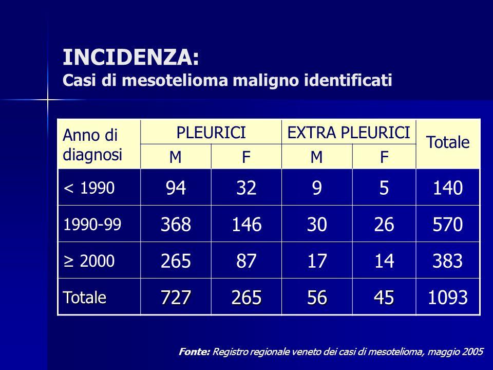 INCIDENZA: Casi di mesotelioma maligno identificati