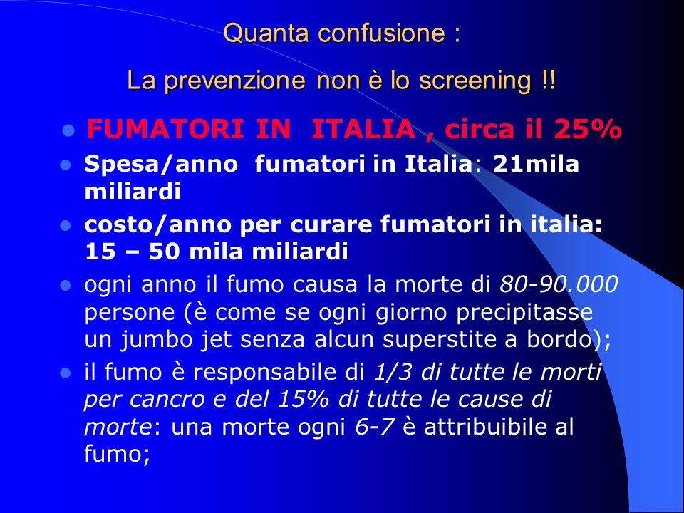 Quanta confusione : La prevenzione non è lo screening !!