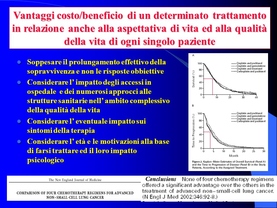 Vantaggi costo/beneficio di un determinato trattamento in relazione anche alla aspettativa di vita ed alla qualità della vita di ogni singolo paziente
