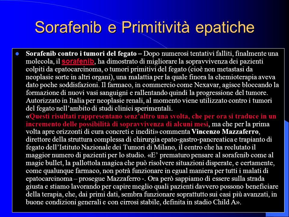 Sorafenib e Primitività epatiche