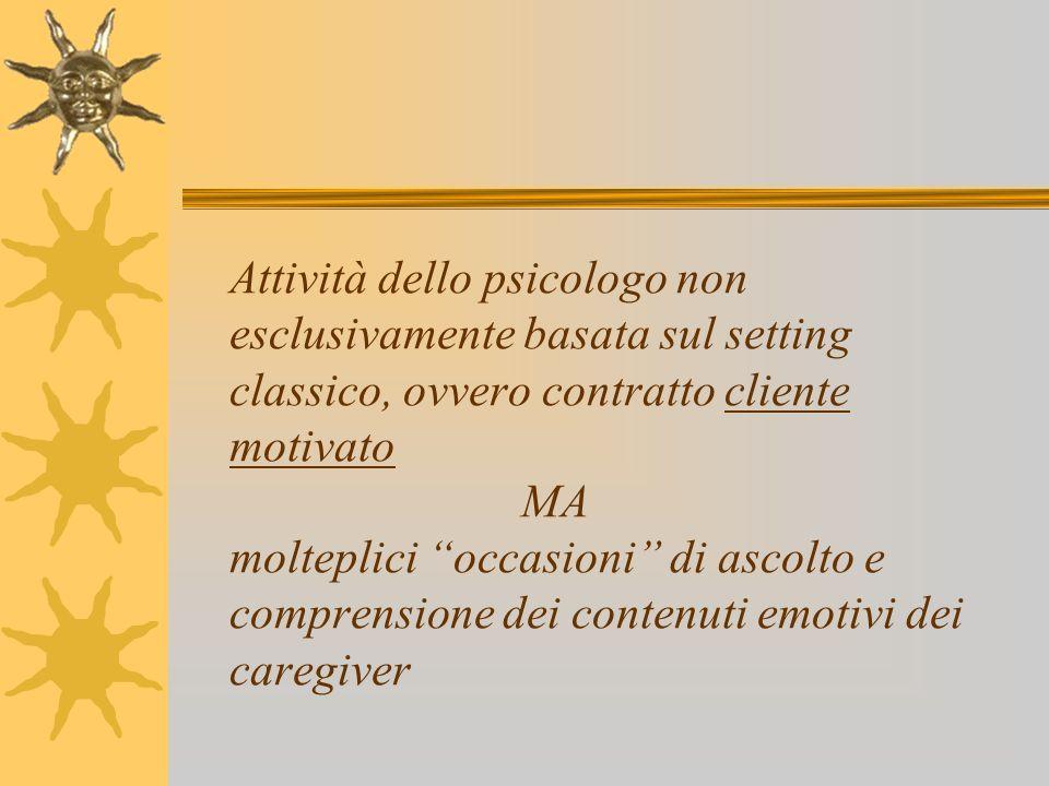 Attività dello psicologo non esclusivamente basata sul setting classico, ovvero contratto cliente motivato MA molteplici occasioni di ascolto e comprensione dei contenuti emotivi dei caregiver