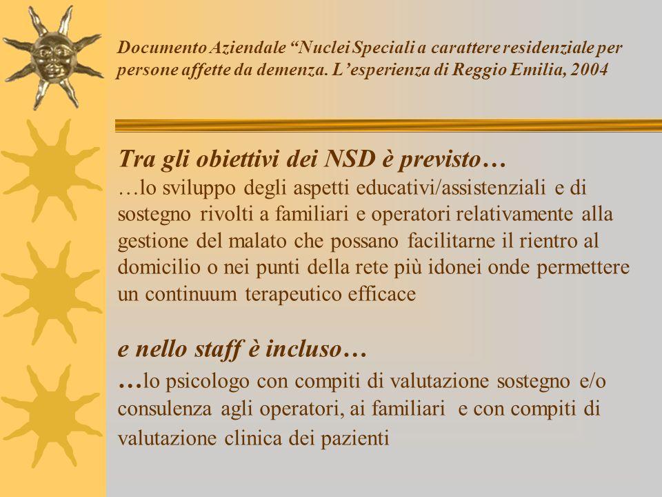 Documento Aziendale Nuclei Speciali a carattere residenziale per persone affette da demenza.