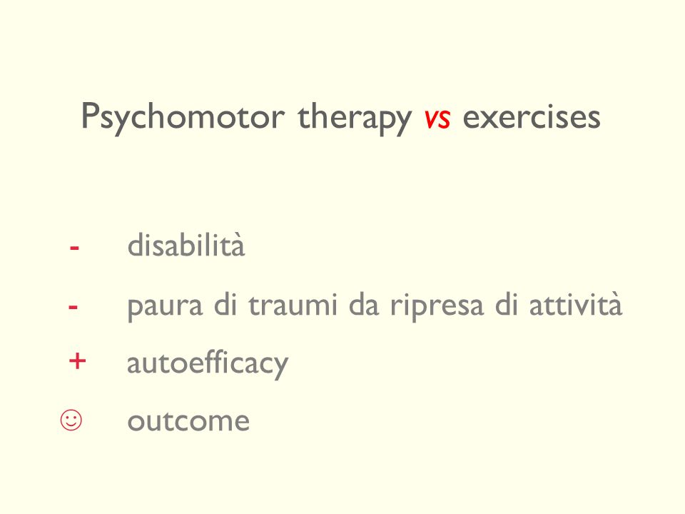 Psychomotor therapy vs exercises