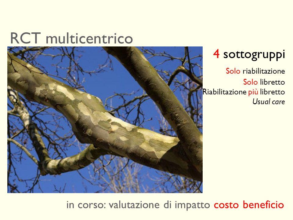 RCT multicentrico 4 sottogruppi Solo riabilitazione
