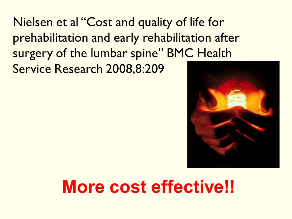 Nielsen et al Cost and quality of life for prehabilitation and early rehabilitation after surgery of the lumbar spine BMC Health Service Research 2008,8:209