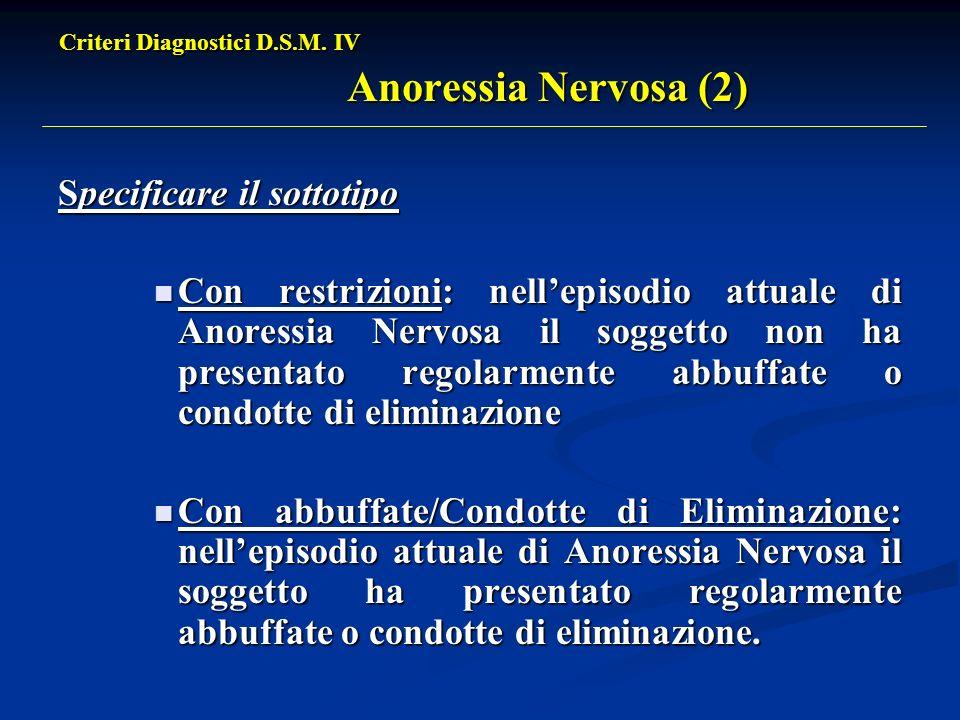 Criteri Diagnostici D.S.M. IV Anoressia Nervosa (2)