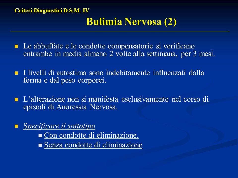 Criteri Diagnostici D.S.M. IV Bulimia Nervosa (2)