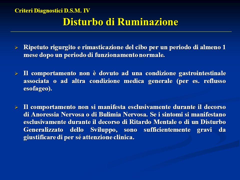 Criteri Diagnostici D.S.M. IV Disturbo di Ruminazione