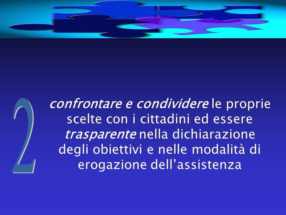 confrontare e condividere le proprie scelte con i cittadini ed essere trasparente nella dichiarazione degli obiettivi e nelle modalità di erogazione dell'assistenza