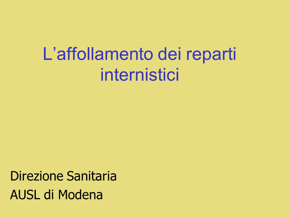 L'affollamento dei reparti internistici
