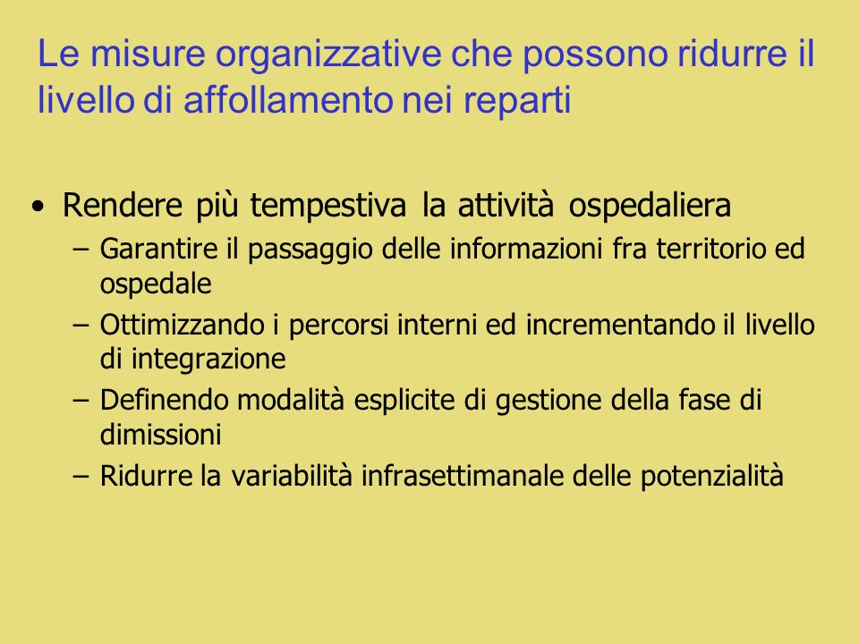 Le misure organizzative che possono ridurre il livello di affollamento nei reparti