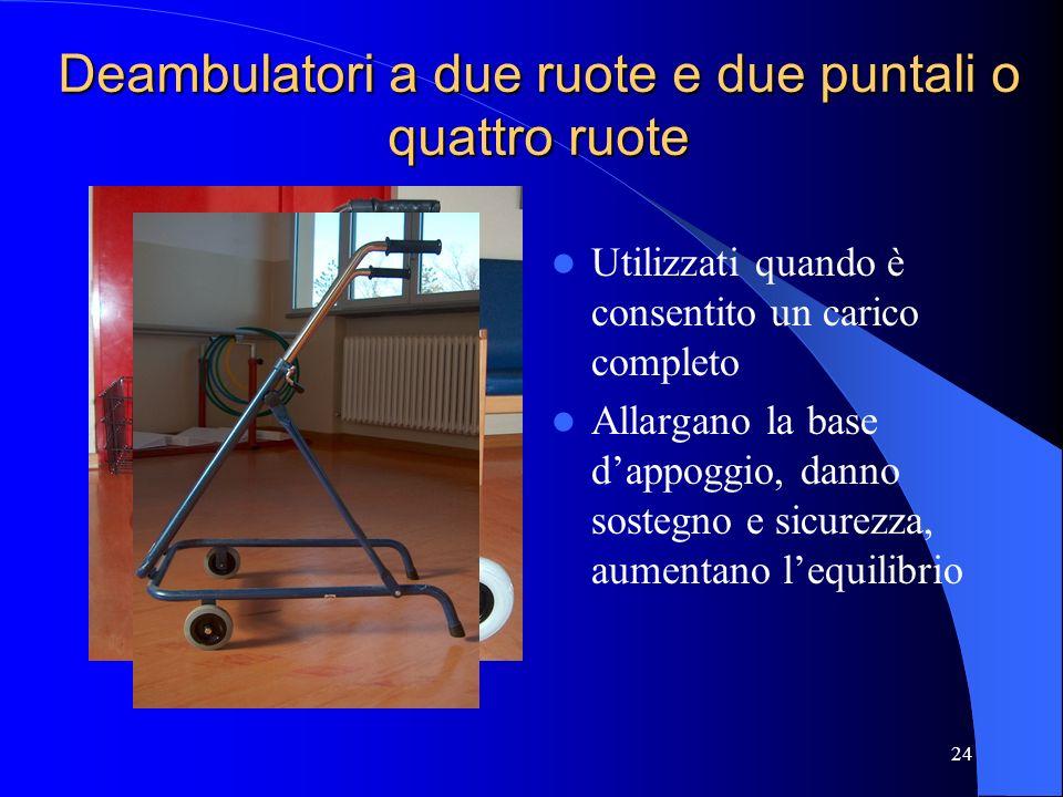 Deambulatori a due ruote e due puntali o quattro ruote
