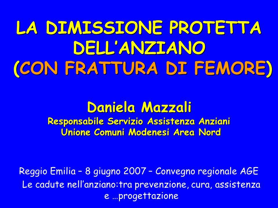 LA DIMISSIONE PROTETTA DELL'ANZIANO (CON FRATTURA DI FEMORE) Daniela Mazzali Responsabile Servizio Assistenza Anziani Unione Comuni Modenesi Area Nord