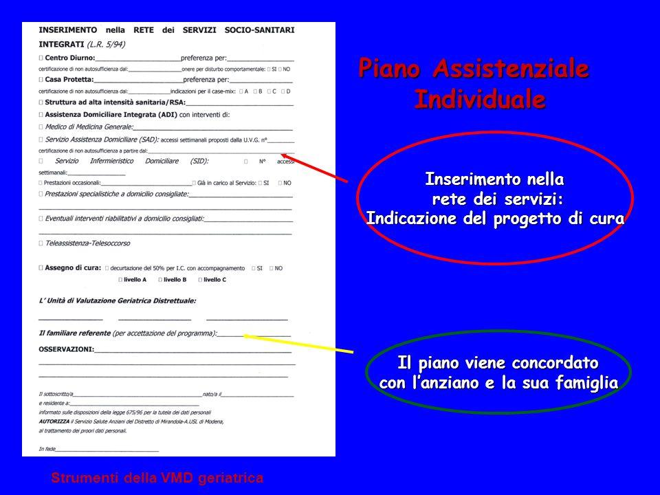 Piano Assistenziale Individuale Inserimento nella rete dei servizi: