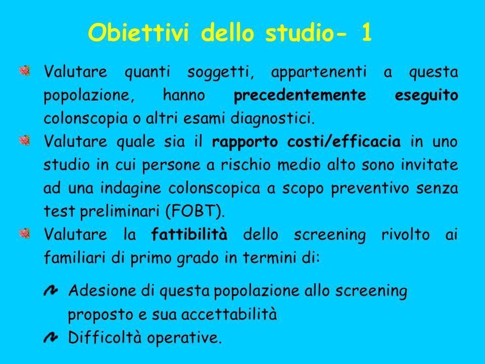 Obiettivi dello studio- 1