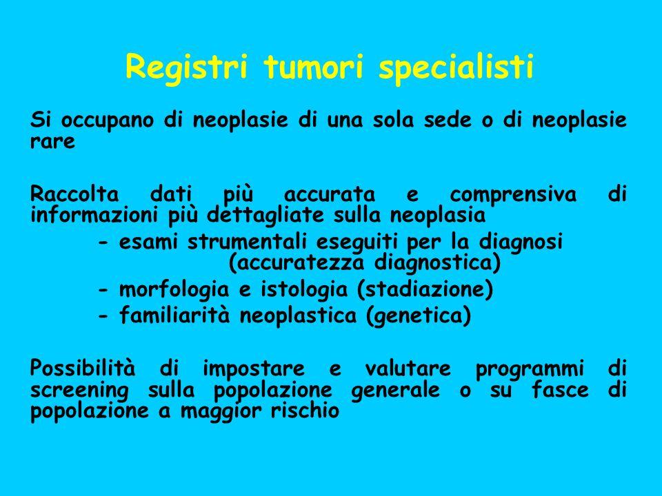 Registri tumori specialisti