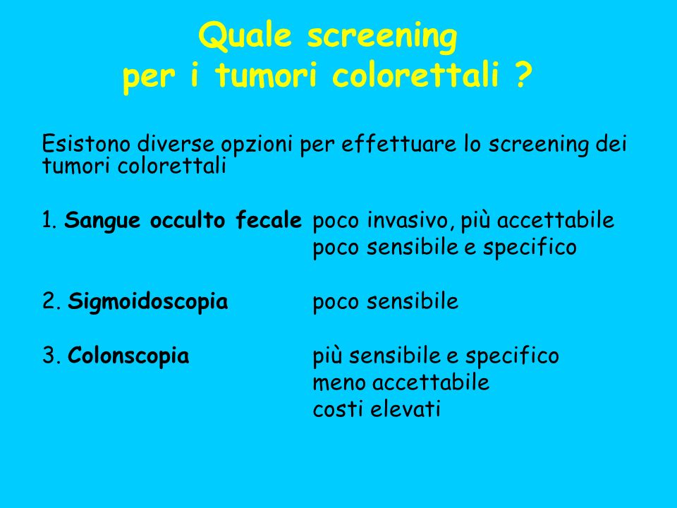 Quale screening per i tumori colorettali