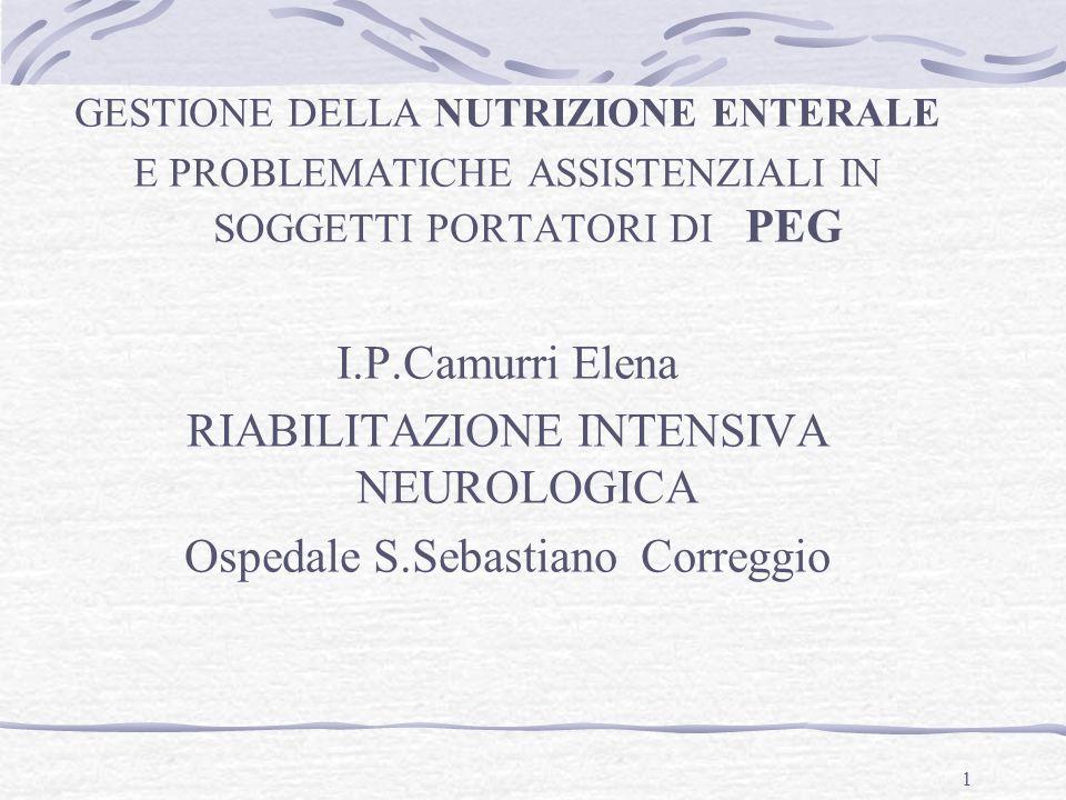 RIABILITAZIONE INTENSIVA NEUROLOGICA Ospedale S.Sebastiano Correggio