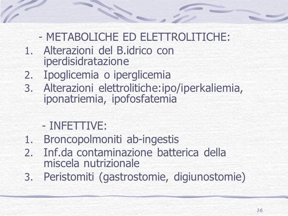- METABOLICHE ED ELETTROLITICHE: