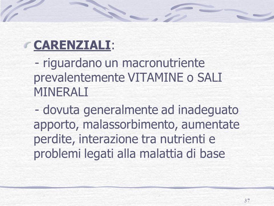 CARENZIALI: - riguardano un macronutriente prevalentemente VITAMINE o SALI MINERALI.