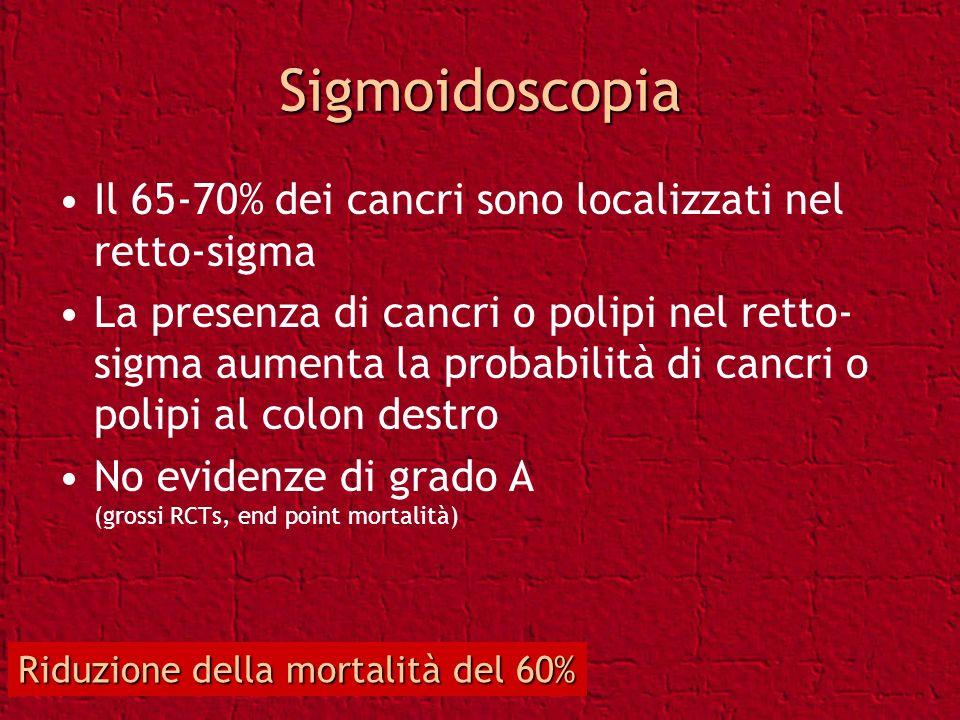 Sigmoidoscopia Il 65-70% dei cancri sono localizzati nel retto-sigma