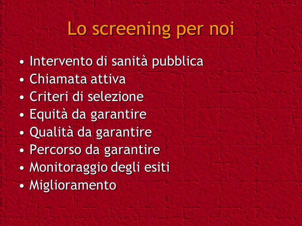 Lo screening per noi Intervento di sanità pubblica Chiamata attiva